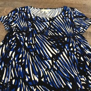 Blue Black and White Printed Blouse